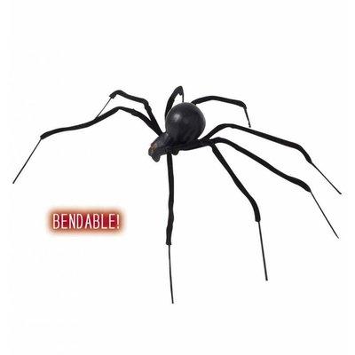 Halloweenaccessoires buigbare zwarte spin 90cm