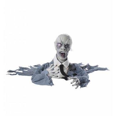Halloweenartikelen zombie groundbreaker met bew. hoofdgeluid + lichtg. ogen