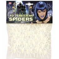 Halloweenaccessoires: Zakje met 40 lichtgevende spinnen
