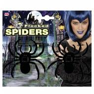 Halloweenaccessoires: 2 fluwelen spinnen 10 cm