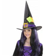 Halloweenaccessoires: Heksenhoed kind met lapjes
