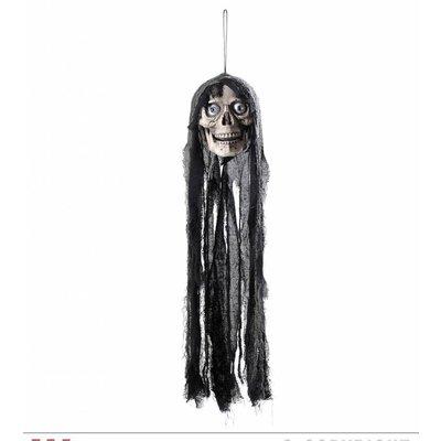 Nep schedel met lang haar voor Halloween