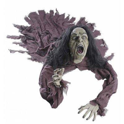 Halloweenartikelen pratende heks groundbreaker met lichtgevende ogen