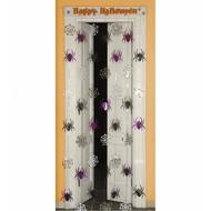 Halloweenaccessoires deurversiering spinneweb met spinnen