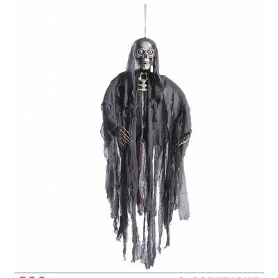 Halloweenartikelen pratende grimreaper met bew. kaak en lichtgevende ogen