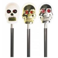Halloweenartikel schedelwandelstok met geluid