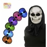Halloweenaccessoires masker schedel meerkleurig lichtgevend ledjes