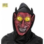 Halloweenmaskers: Duivelsmasker met kap en lichtgevende ogen