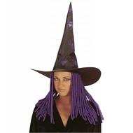 Halloweenaccessoires: Heksenhoed met spinnen en dreadlocks