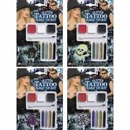 Halloweenaccessoires glitter tattoo make-up kit