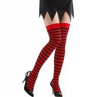 Halloweenaccessoires kniekousen rood/zwart gestreept