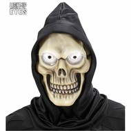 Halloweenmaskers: Schedelmasker met kap en oplichtende ogen