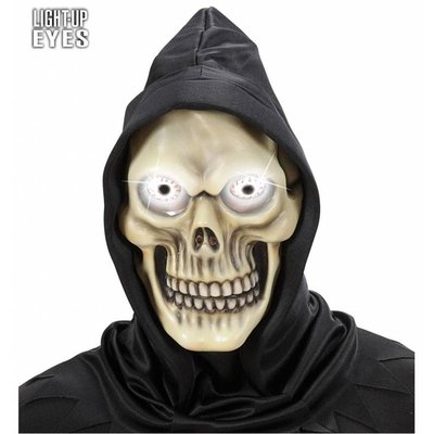 Schedelmasker met kap en oplichtende ogen voor Halloween