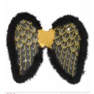 Halloweenaccessoires glitter vleugels zwart met marabou