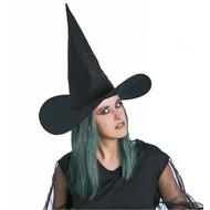 Halloweenaccessoires: Heksenhoed met groen haar