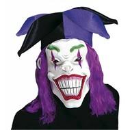 Halloweenaccessoires masker joker met haar en hoed
