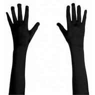 Halloweenaccessoires handschoenen satijn zwart 45cm
