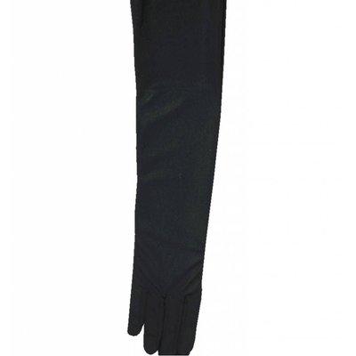 Halloweenaccessoires handschoenen satijn zwart 60cm