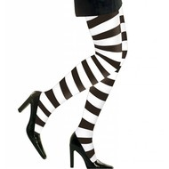 Halloweenaccessoires: Heksenpanty zwart/wit