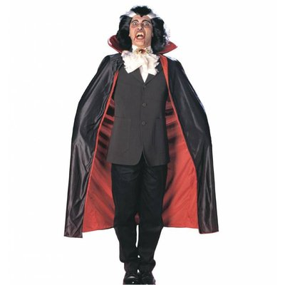 Luxe zwarte halloweencape met rode voering