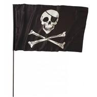 Halloweenaccessoires piratenvlag groot met stok