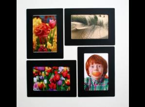 Her-Plakbare Fotolijstjes ZWART 1 x set 2 + 2 midi  bonus lijstjes  ( voor foto's 10 x 15 cm en 10 x 6 cm )