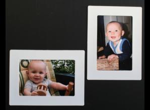 Her-Plakbare Fotolijstjes WIT 1 x set 2 + 2 midi  bonus lijstjes  ( voor foto's 10 x 15 cm en 10 x 6 cm )