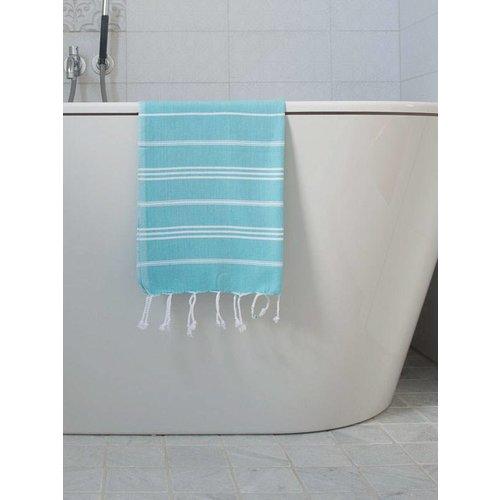 Ottomania hamam handdoek aqua met witte strepen 100x50cm