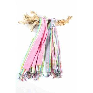 PURE Kenya kikoy strandlaken multi stripes pink