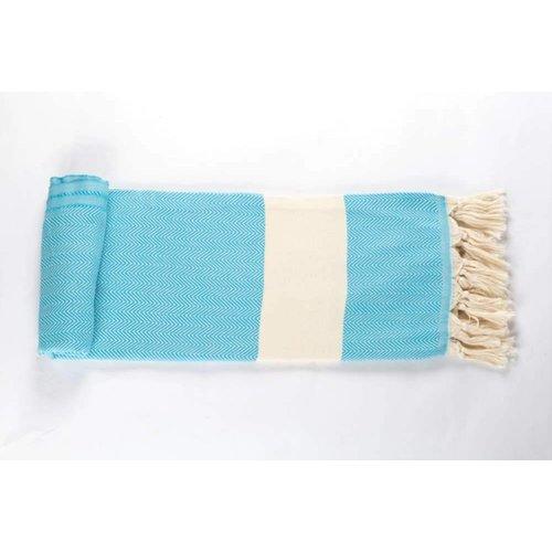 Call it Fouta! hamamdoek Herringbone turquoise blue 180x100
