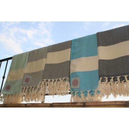 Call it Fouta! hamamdoek Herringbone dark navy 180x100