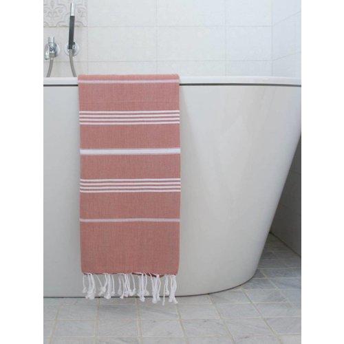 Ottomania hamam handdoek koper met witte strepen 100x50cm