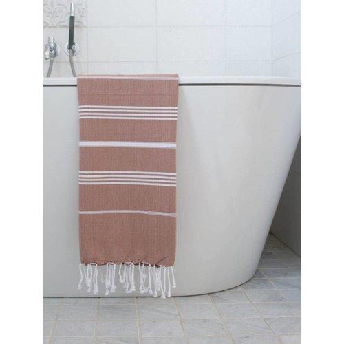 Ottomania hamam handdoek bruin met witte strepen 100x50cm