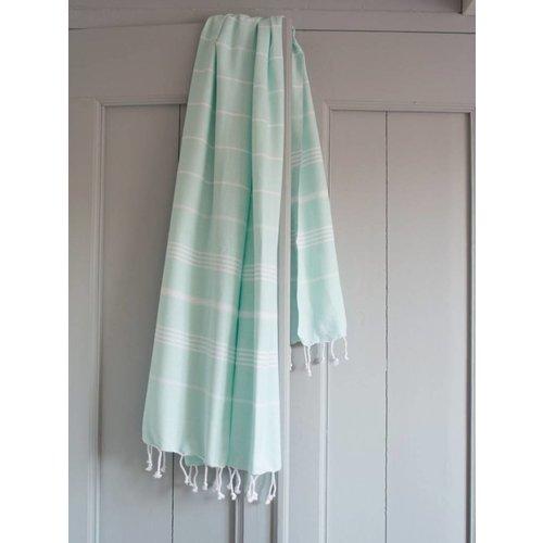 Ottomania hamam handdoek mint met witte strepen 100x50cm