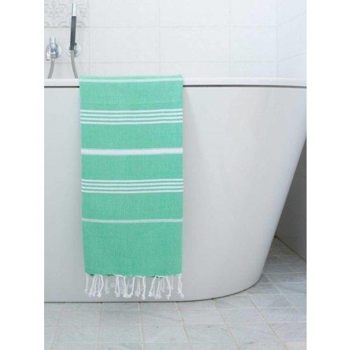 Ottomania hamam handdoek jade met witte strepen 100x50cm