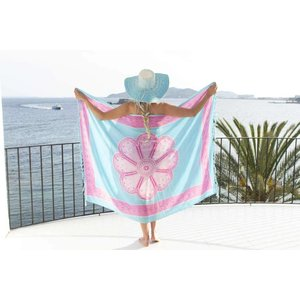 Call it Fouta! Pareo Flower blue pink