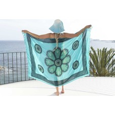 Call it Fouta! Pareo Flower turquoise seagreen