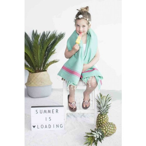 Call it Fouta! kids hamamdoek turquoise pink