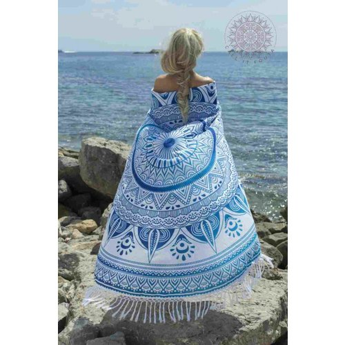Call it Fouta! Roundie Gypsy Spring blue fringes