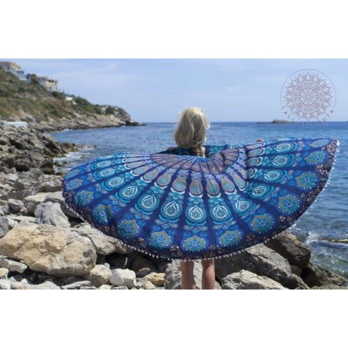 Call it Fouta! Roundie Gypsy Peacock turquoise pompom