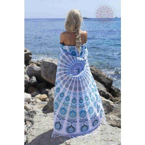 Call it Fouta! Roundie Gypsy Peacock Atlantis white fringes