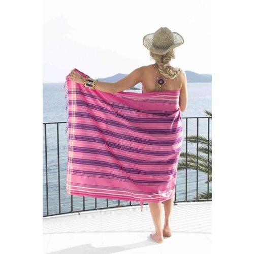 PURE Kenya kikoy handdoek pink stripes