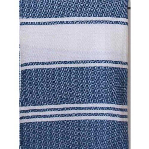 Ottomania hamamdoek Honingraat marineblauw met witte strepen 170x100cm