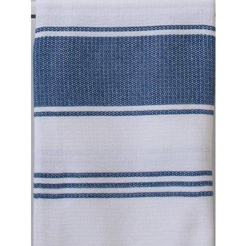 Ottomania hamamdoek Honingraat wit met marineblauwe strepen 170x100cm