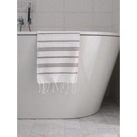 hamam handdoek wit/donkerolijfgroen