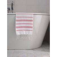 hamam handdoek wit/robijnrood