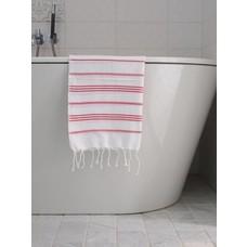 Ottomania hamam handdoek wit/robijnrood