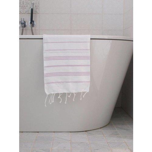 Ottomania hamam handdoek wit/lichtlila