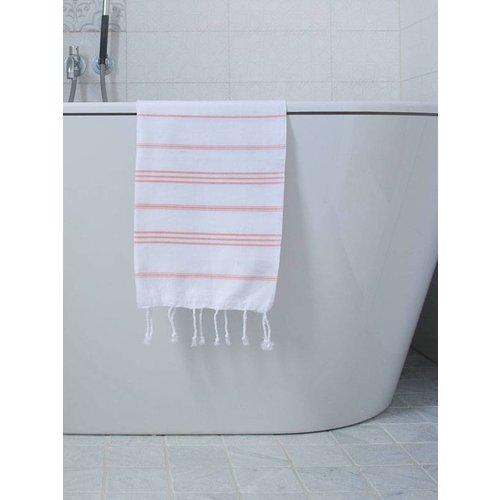 Ottomania hamam handdoek wit met donkerperzik strepen 100x50cm