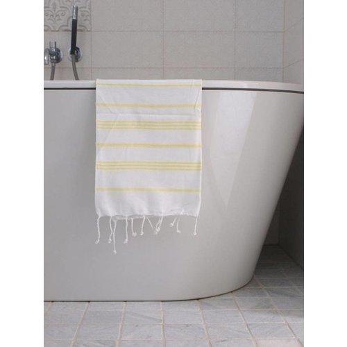Ottomania hamam handdoek wit met citroengele strepen 100x50cm